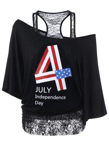 Chic Lace Trim Funny 4th of July T-Shirts BLACK 2XL