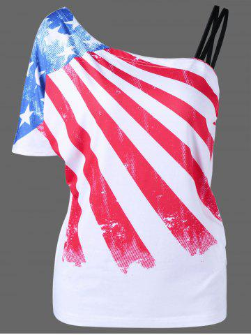 Plus Size Patriotic One Shoulder Distressed American Flag T-Shirt - White - 5xl