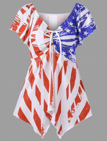 Trendy Distressed American Flag Plus Size Swing Top - 2XL WHITE Mobile
