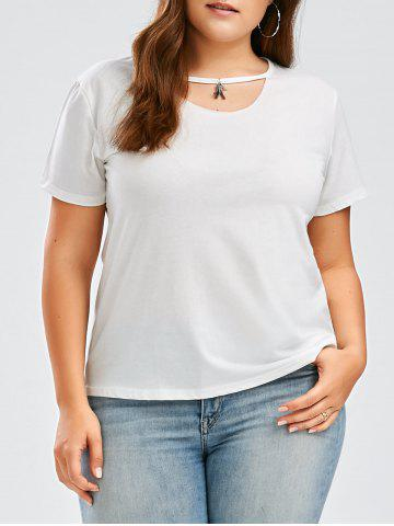 Plus Size Keyhole Short Sleeve Tee - White - 4xl