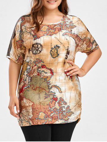 Fashion Map Printed Plus Size Tunic Top COLORMIX 5XL