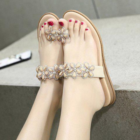 Outfits Rhinestone Flower Toe Ring Flat Slippers - 38 APRICOT Mobile