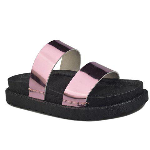 Shop Faux Leather Platform Slippers - 39 PINK Mobile