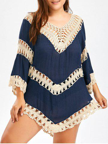 Plus Size Crochet Openwork Cover-Up - Cerulean - One Size