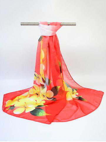 Hot Chiffon Flowers Printed Gossamer Shawl Scarf - RED  Mobile