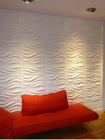 Outfits Eco-Friendly Embossed 3D Sticker Wall Decoration - 60*60CM WHITE Mobile