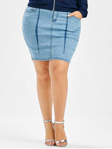 Plus Size Denim Mini Bodycon Skirt - Light Blue - 4xl