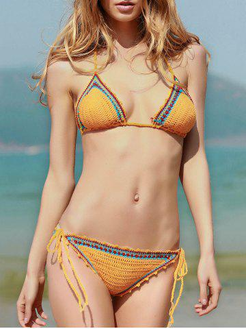 Trendy Lace Up Spaghetti Strap Crocheted Bathing Suit YELLOW S