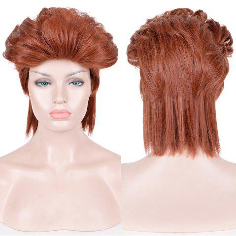 Discount Short Straight Slicked Back Synthetic Cosplay Anime Wig - DARK AUBURN  Mobile