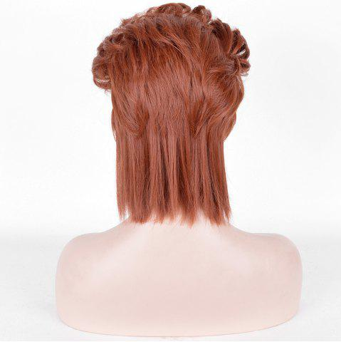 Fancy Short Straight Slicked Back Synthetic Cosplay Anime Wig - DARK AUBURN  Mobile