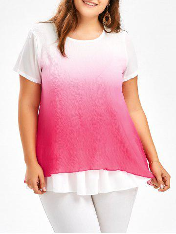 Shop Ruffle Ombre Chiffon Plus Size Tunic Top TUTTI FRUTTI 4XL