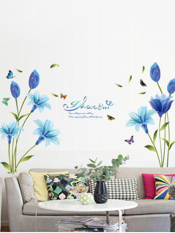 Shops Lily Flower Vinyl Wall Art Sticker - 60*90CM BLUE Mobile