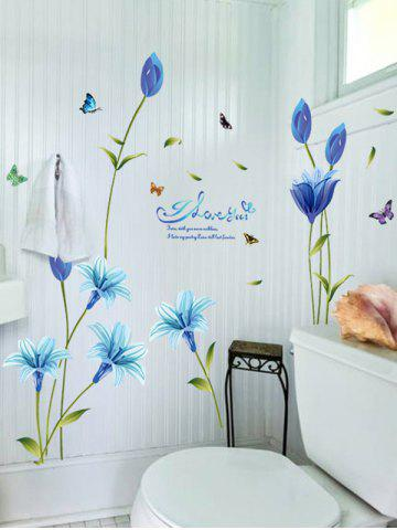 Chic Lily Flower Vinyl Wall Art Sticker - 60*90CM BLUE Mobile
