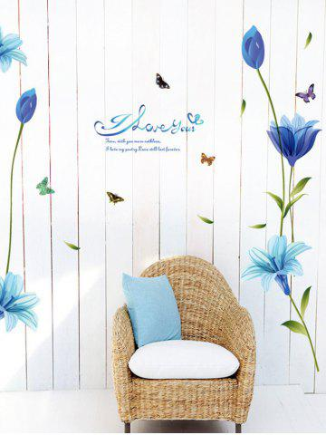Discount Lily Flower Vinyl Wall Art Sticker - 60*90CM BLUE Mobile