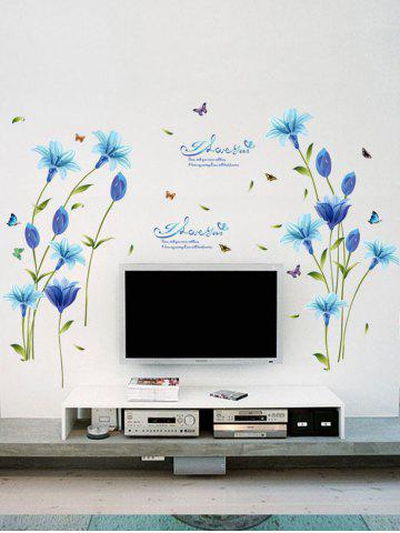 Store Lily Flower Vinyl Wall Art Sticker - 60*90CM BLUE Mobile