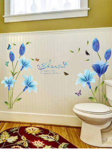 Outfit Lily Flower Vinyl Wall Art Sticker - 60*90CM BLUE Mobile
