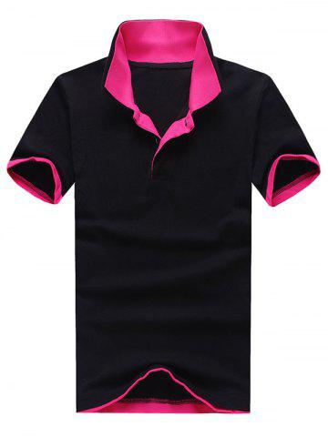 Polo Collar Color Block Panel Short Sleeve T-Shirt - Black And Rose Red - 3xl
