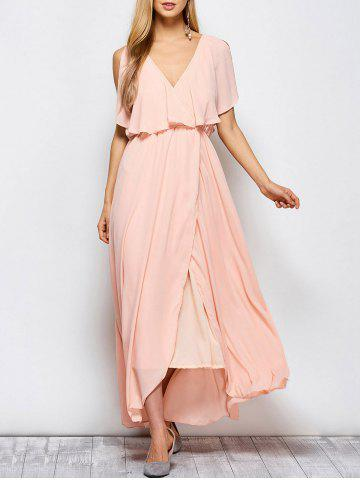 Unique Ruffles Maxi Surplice Wedding Guest Prom Dress - XL PINK Mobile