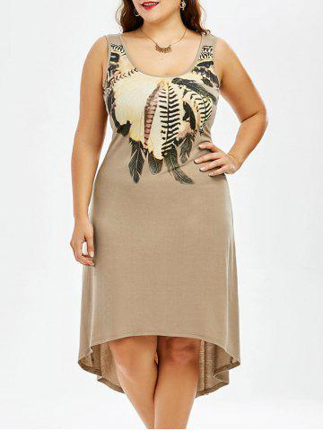 Shop Plus Size High Low Hem Sleeveless Dress with Feather Print