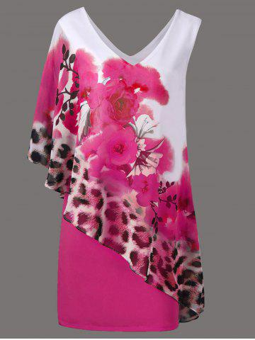 Floral and Leopard Print V Neck Capelet Overlay Party Dress - Tutti Frutti - L