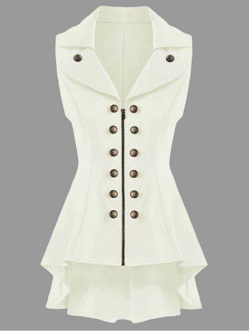 Double Breast High Low Lapel Dressy Waistcoat - Off-white - M