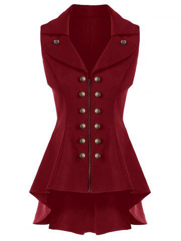 Outfits Double Breast High Low Lapel Dressy Waistcoat CLARET M