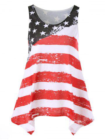 Shops Distressed American Flag Asymmetrical Tank Top COLORMIX L