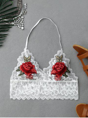 Chic Flower Embroidery Scalloped Halter Lace Crop Top WHITE S