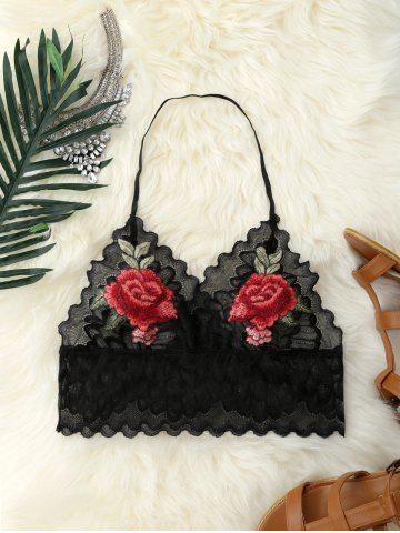 Shops Flower Embroidery Scalloped Halter Lace Crop Top BLACK S