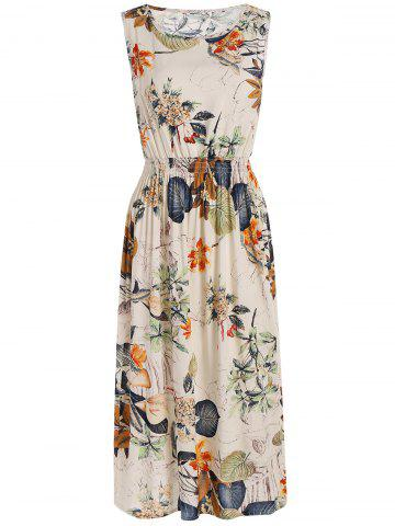 Trendy Plants Print Elastic High Waist Midi Dress OFF WHITE ONE SIZE