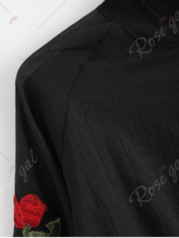 Fancy Floral Embroidered Zip Up Jacket - ONE SIZE BLACK Mobile