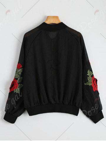 Outfits Floral Embroidered Zip Up Jacket - ONE SIZE BLACK Mobile