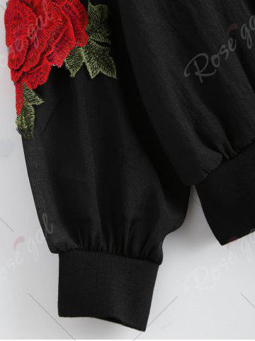Cheap Floral Embroidered Zip Up Jacket - ONE SIZE BLACK Mobile