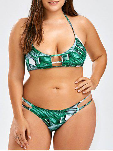 Halter Tropical Plus Size Bikini Set - Green - 3xl