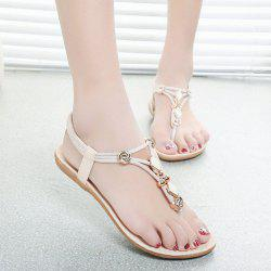 Elastic Band Metal Flat Heel Sandals