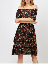 Off The Shoulder Layer Floral Print Dress - COLORMIX