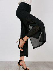 High Rise Side Slit Pantalon à larges jambes - Noir