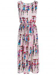 Tribal Figure Print High Waist Midi Dress
