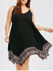 Plus Size Asymmetrical Slip Dress - BLACK