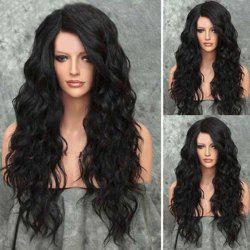 Shaggy Side Parting Long Wavy Heat Resistant Synthetic Wig - NATURAL BLACK