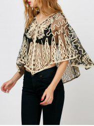 Embroidered See Through Dolman Sleeve Blouse
