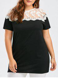 Lace Insert Semi Sheer Plus Size T-Shirt