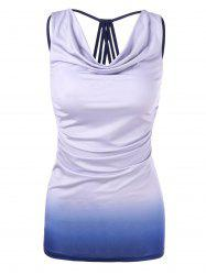 Ombre Cowl Neck Fitted Tank Top