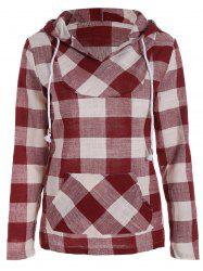 Plaid Kangaroo Pocket Hoodie - RED