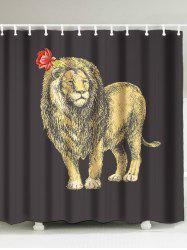 Waterproof Lion Flower Shower Curtain