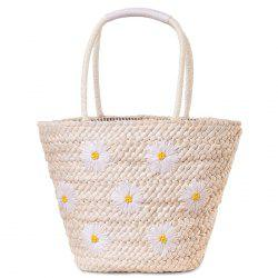 Blossom Embroidery Straw Beach Bag - WHITE