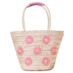 Blossom Embroidery Straw Beach Bag