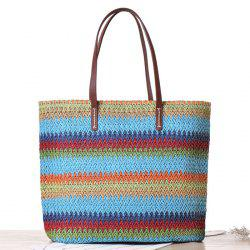 Woven Color Blocking Beach Bag - BLUE
