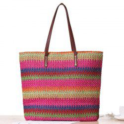 Woven Color Blocking Beach Bag