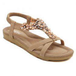 Rhinestone Flower Flat Sandals